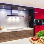 Red kitchen with LED lights