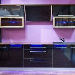 Ionic Blue LED lights in kitchen cabinets