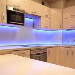 SubBlue kitchen cabinets with LED backlight